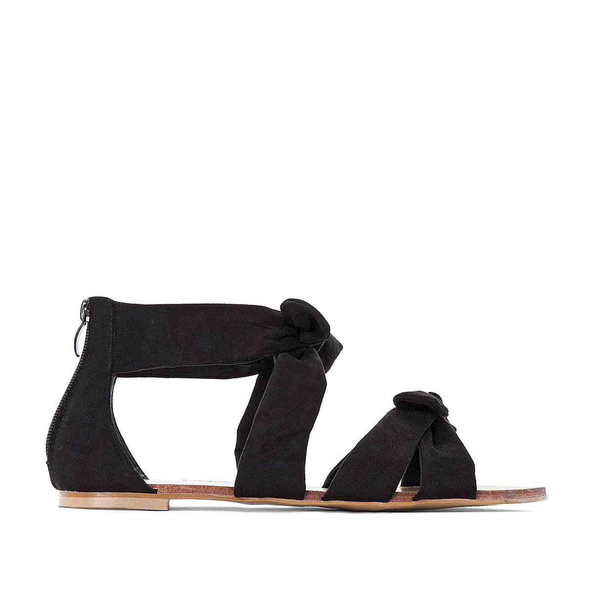 цена на Босоножки La Redoute На плоском каблуке для широкой стопы размеры - 38 черный