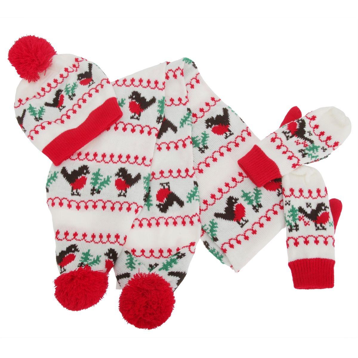 Bonnet, écharpe et gants de Noël