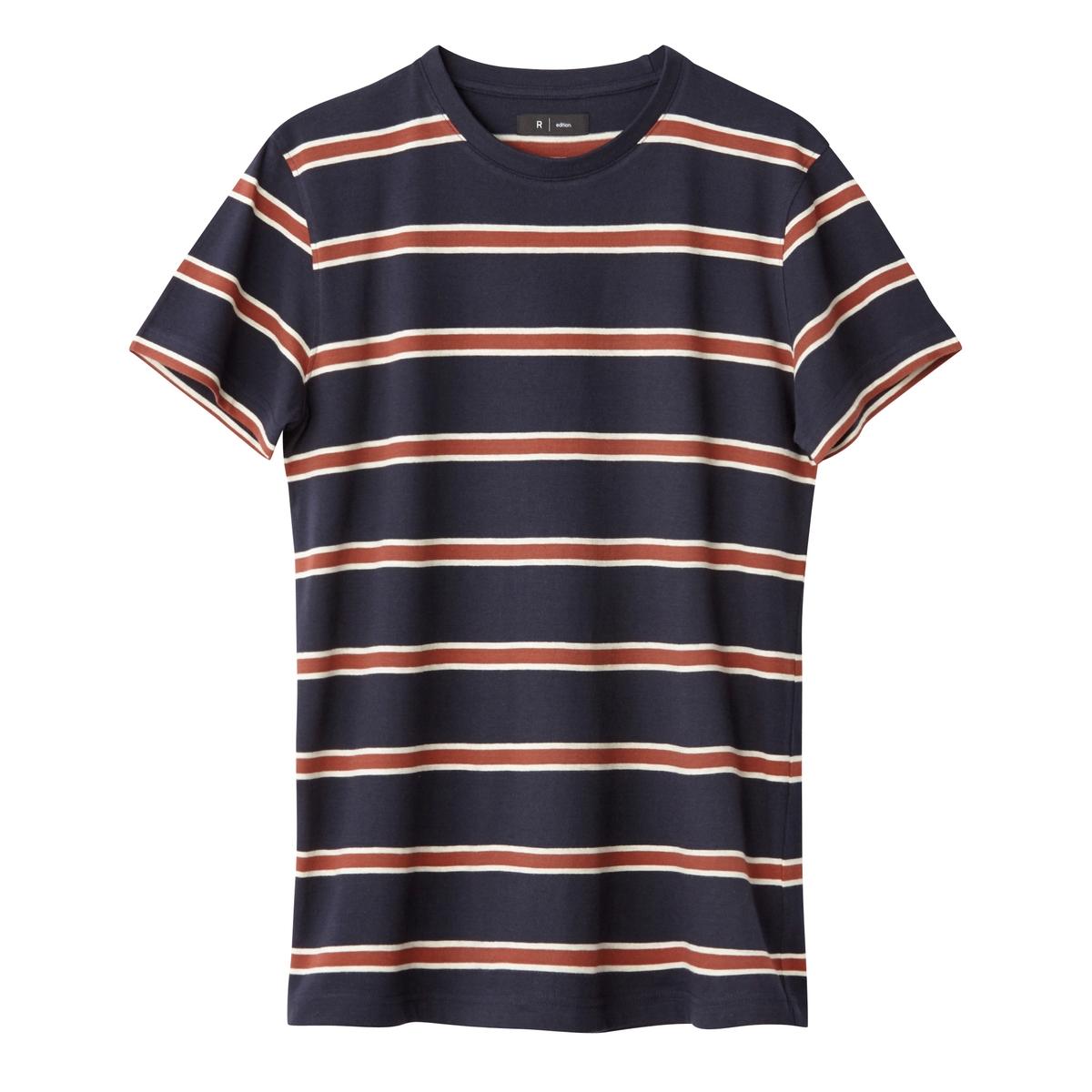 Футболка в полоску с круглым вырезом, 100% хлопок футболка в полоску с круглым вырезом