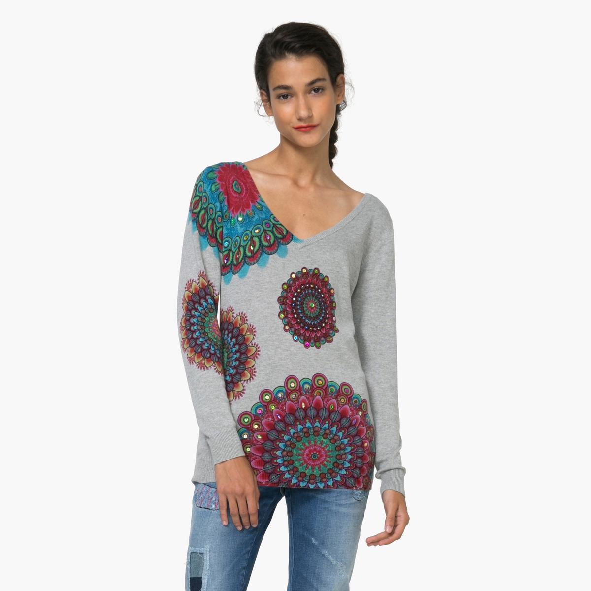 Пуловер с длинными рукавами с рисункомМатериал : 5% шелка, 42% вискозы, 53% хлопка Длина рукава : длинные рукава Форма воротника : V-образный вырез Покрой пуловера : стандартный Рисунок : с рисунком  Особенность пуловера : широкий рукав фасона летучая мышь<br><br>Цвет: светло-серый<br>Размер: XL.L
