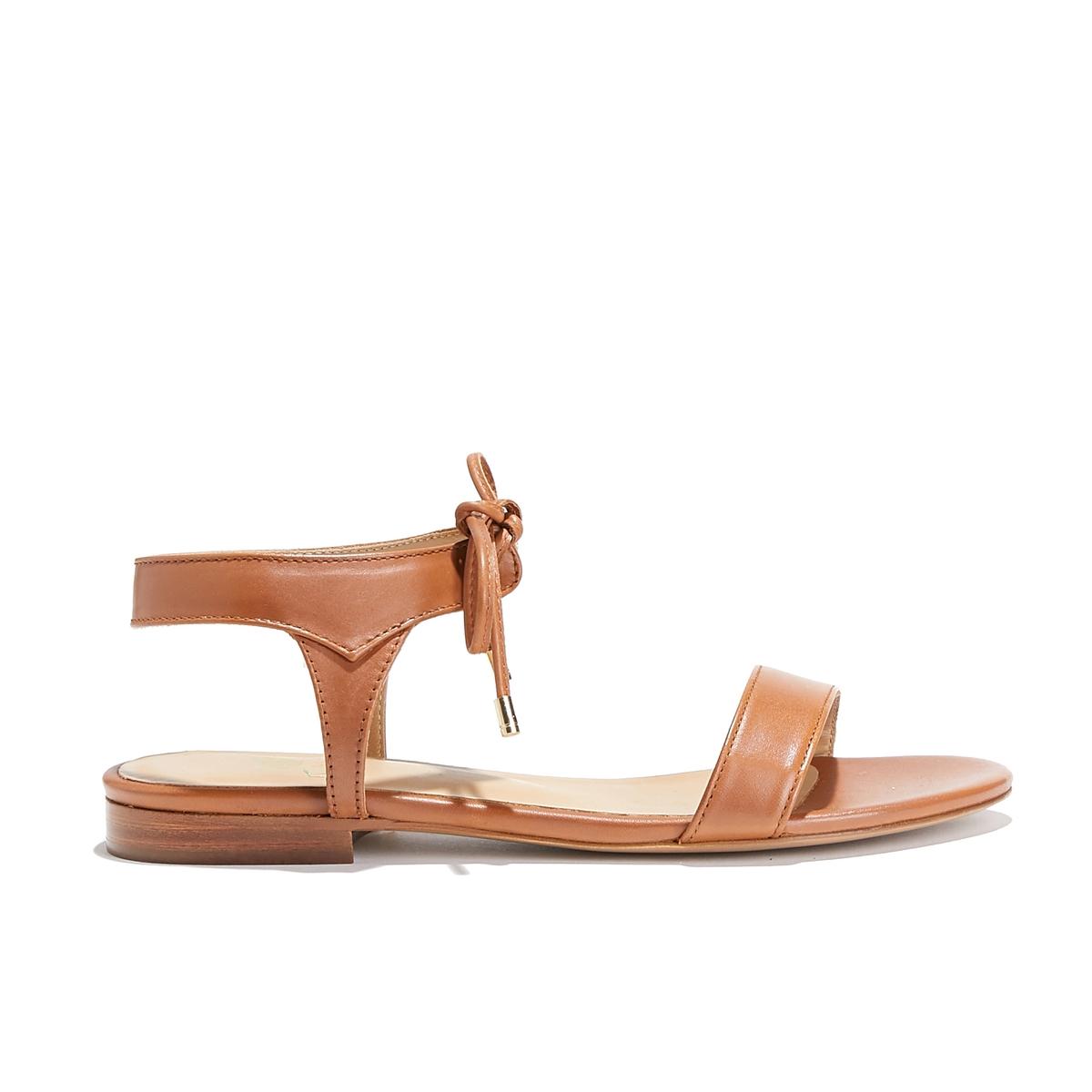Босоножки кожаные на плоском каблуке LA CONQUISE босоножки кожаные с бусинами на плоском каблуке