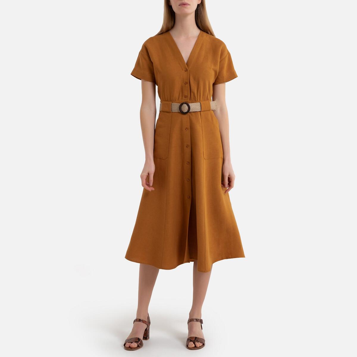 Платье La Redoute Расклешенное CALA RAFIA M желтый