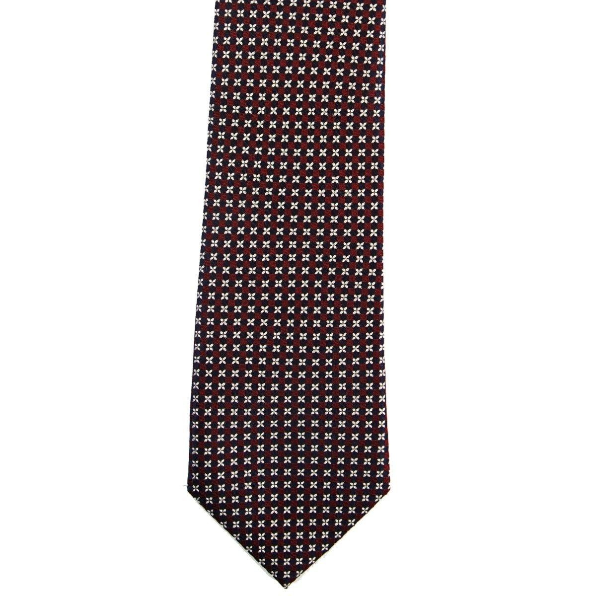 Cravate en pure soie à puces et micros fleurs