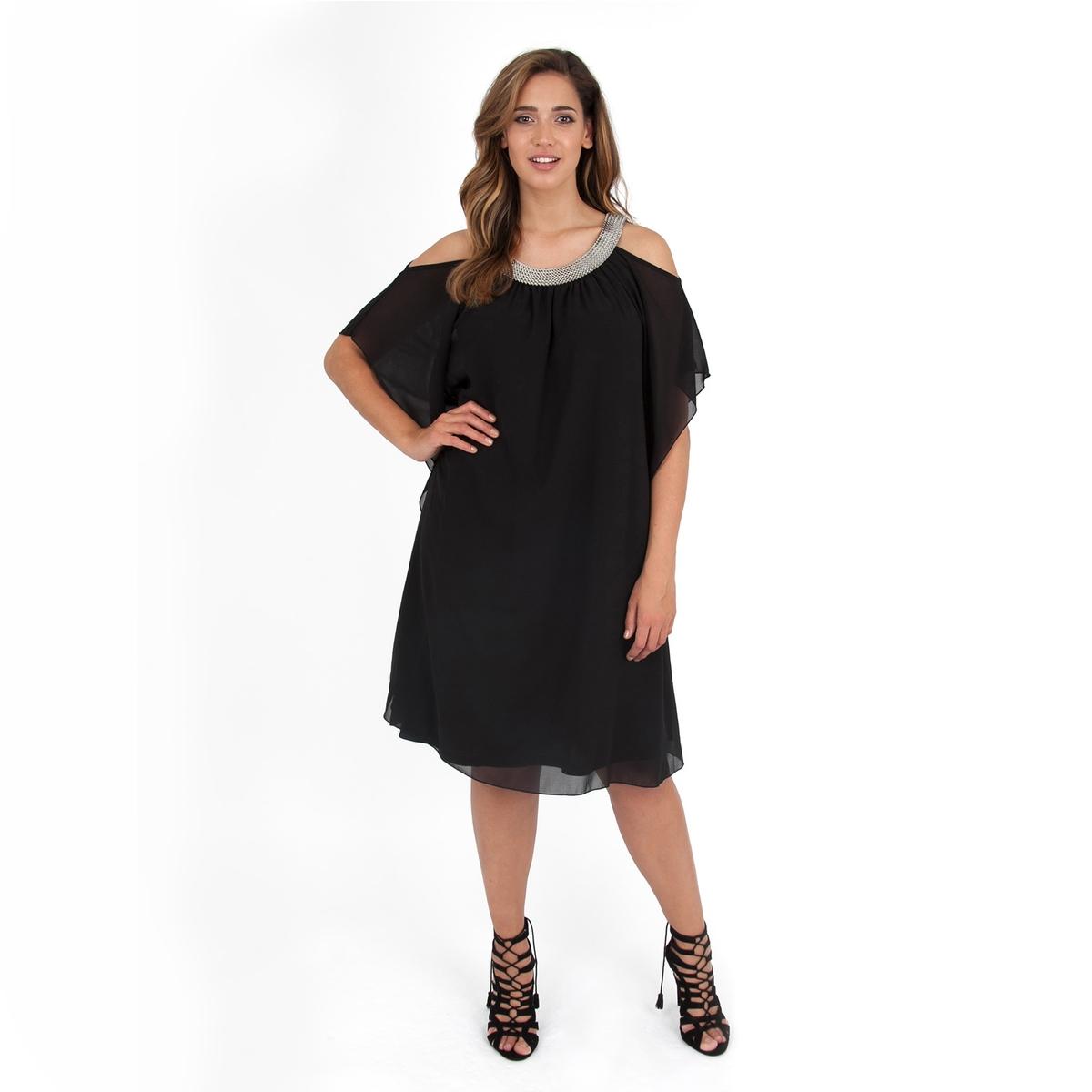 Платье прямое средней длины, однотонное, с короткими рукавамиДетали  •  Форма : прямая  •  Длина до колен •  Короткие рукава    •  Круглый вырезСостав и уход  •  100% полиэстер •  Следуйте советам по уходу, указанным на этикеткеТовар из коллекции больших размеров<br><br>Цвет: черный