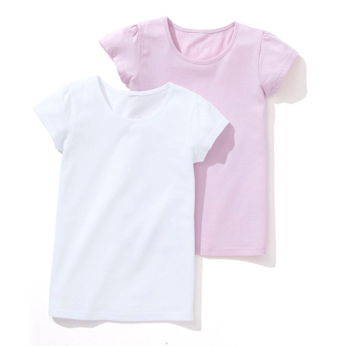 Комплект из 2 однотонных футболок на 3-12 летКомплект из 2 футболок с короткими рукавами. Круглый вырез. Сборки на плечах.  Состав и описание : Материал: джерси, 100% хлопок (кроме цвета серый меланж : 95% хлопка, 5% вискозы) Марка: R ?dition Уход: :Машинная стирка при 40 °С с вещами схожих цветов.Стирать, сушить и гладить с изнаночной стороны.Машинная сушка на обычном режиме.Гладить при средней температуре..<br><br>Цвет: белый + светло-розовый,белый + ярко-синий<br>Размер: 4 года - 102 см.18 мес. - 81 см.5 лет - 108 см.12 лет -150 см.6 лет - 114 см
