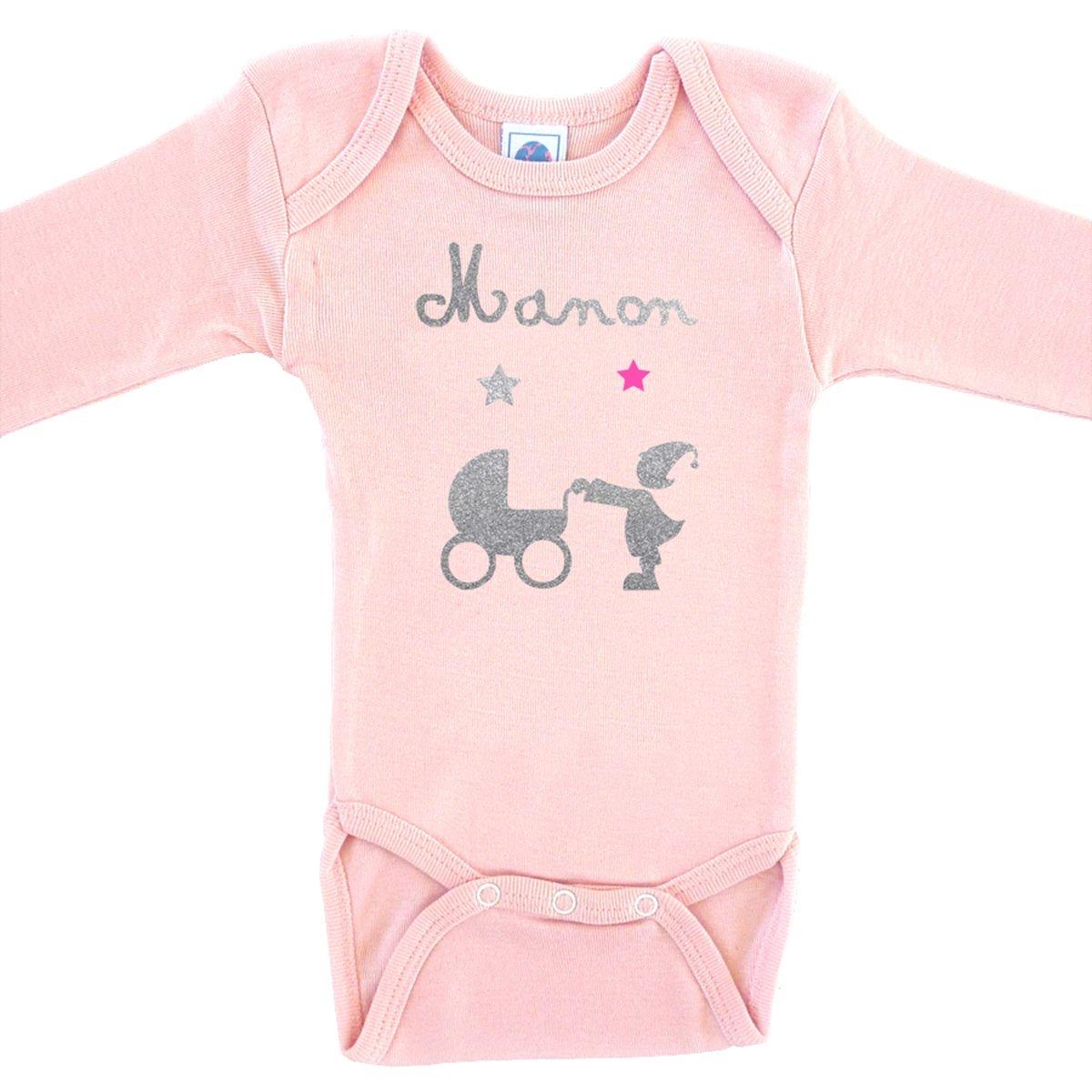 Body bébé prénom en coton manches longues rose