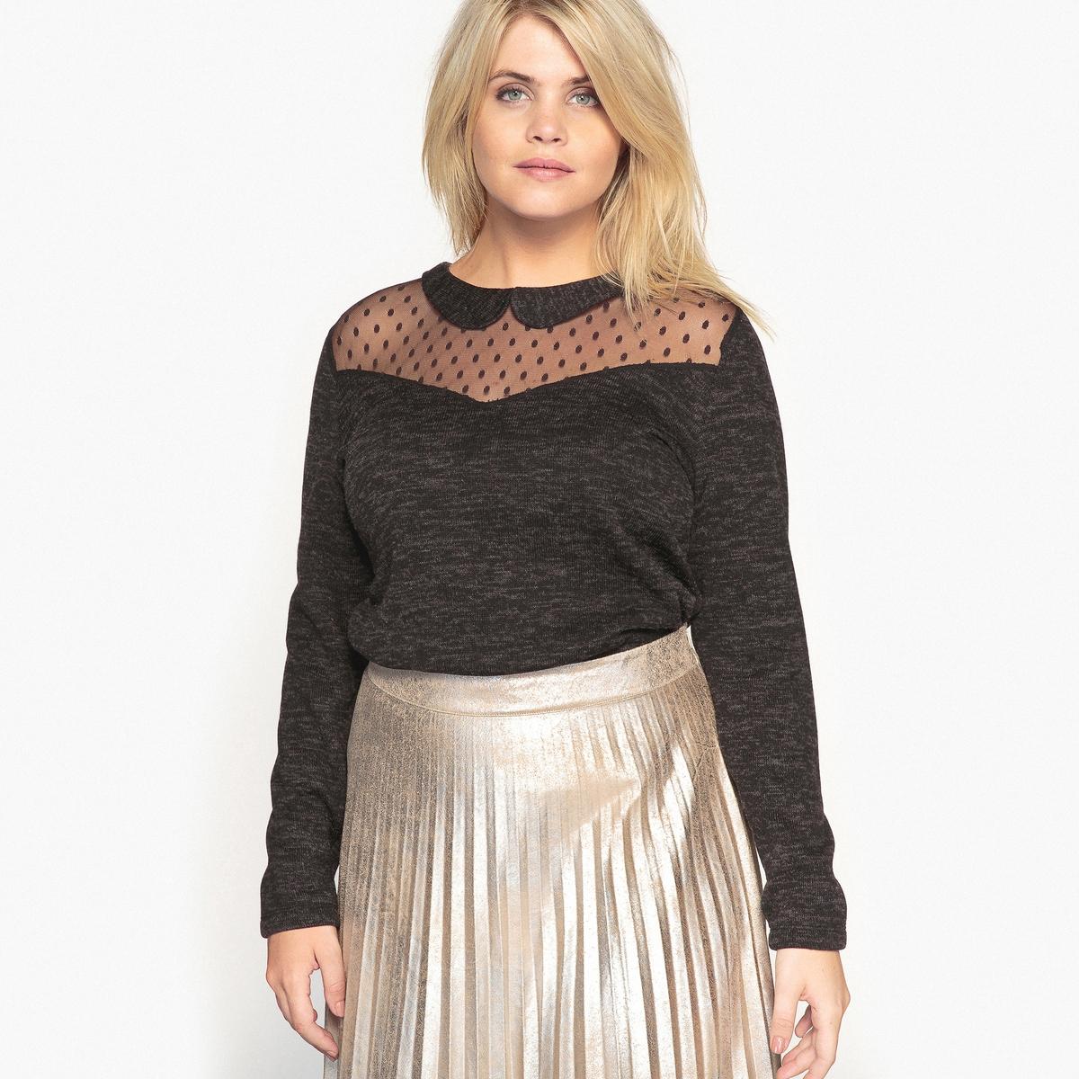 Пуловер с круглым вырезом и вышивкой гладью на вставках