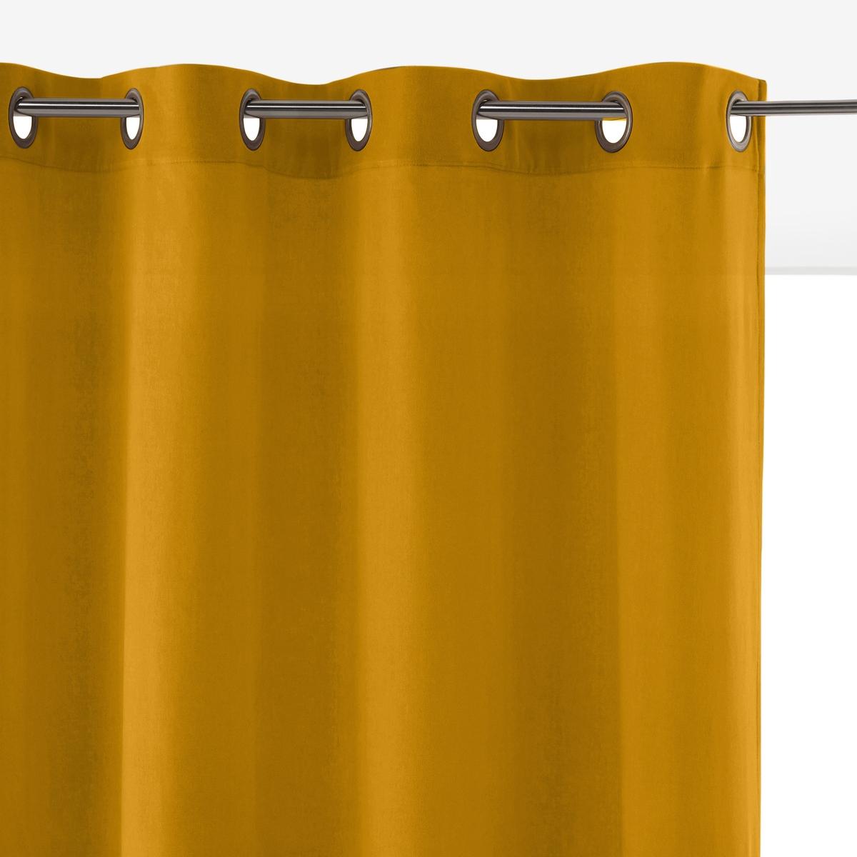 Штора LaRedoute Из велюра с люверсами Velvet 350 x 135 см желтый