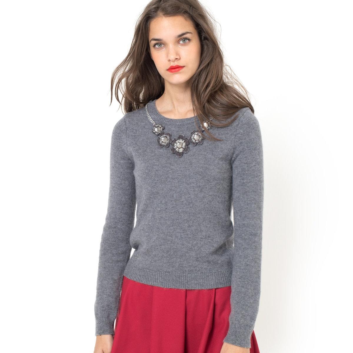 Пуловер со съемным украшением