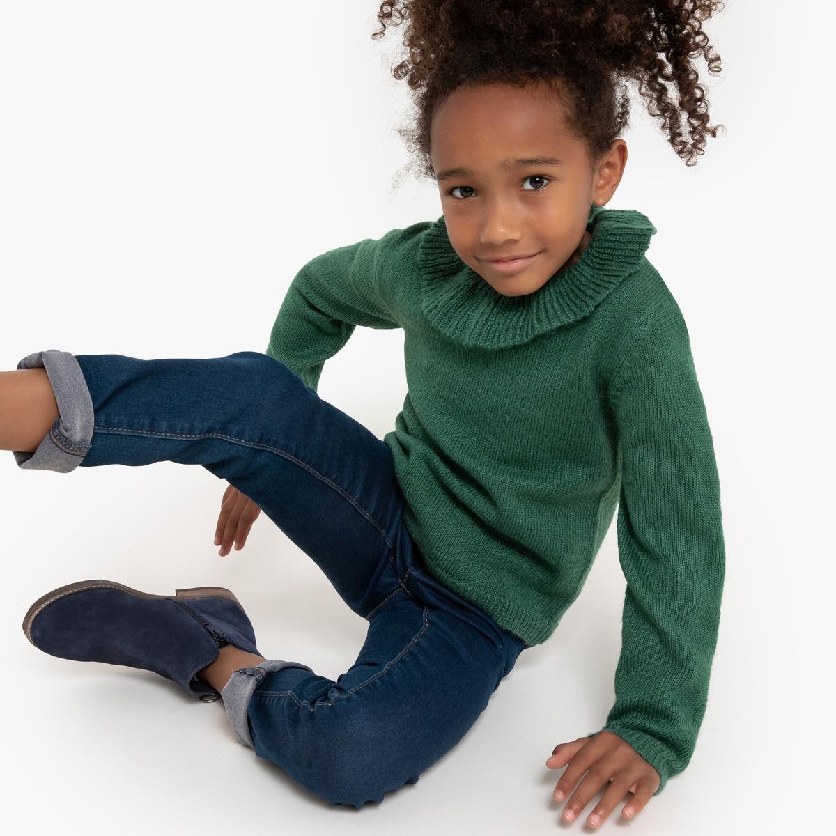 Пуловер La Redoute С круглым вырезом с воланами из тонкого трикотажа 12 лет -150 см зеленый пуловер la redoute с круглым вырезом из шерсти мериноса pascal 3xl черный