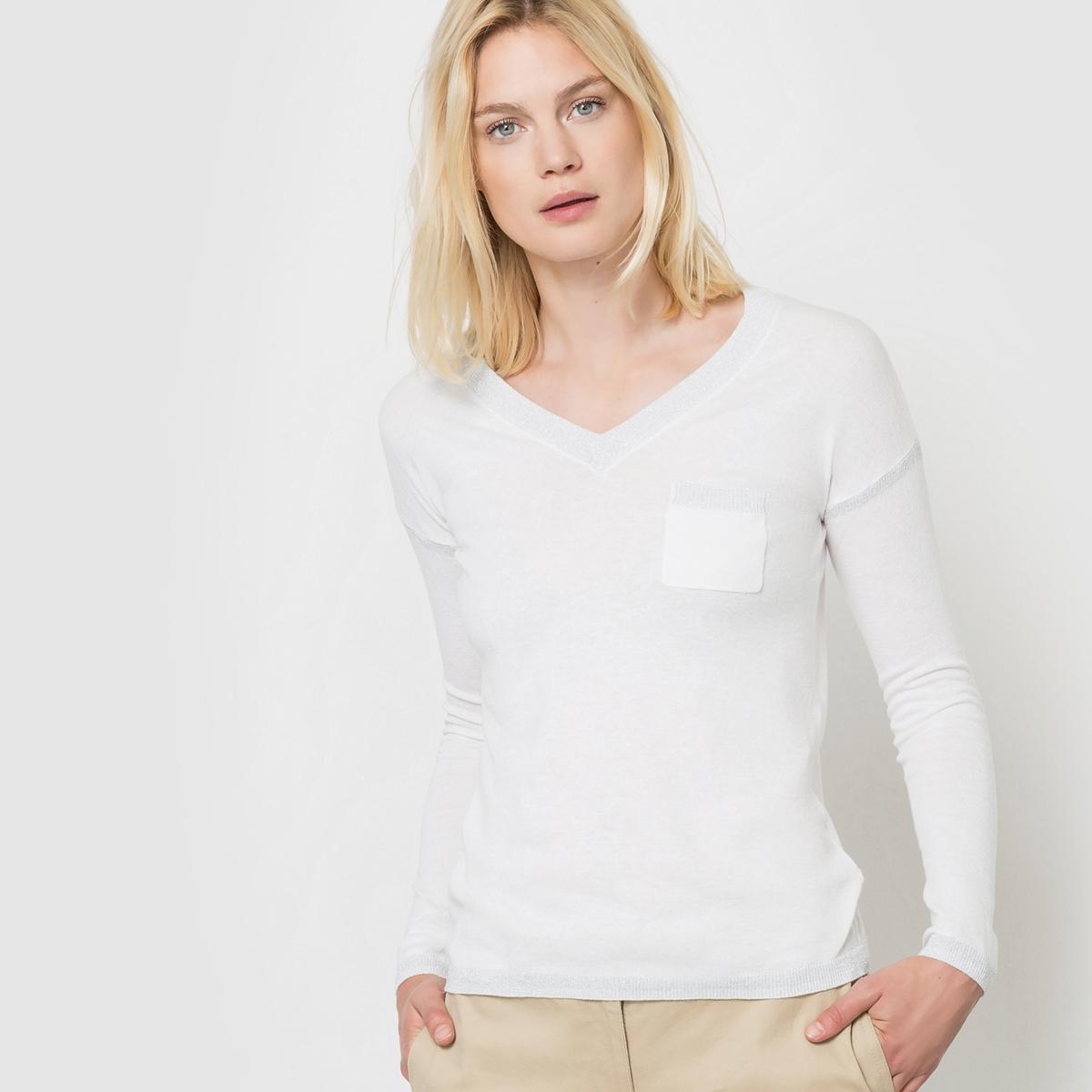 Пуловер с длинными рукавамиСостав и описаниеМатериал: 100% хлопка.     Марка: ICHI<br><br>Цвет: белый