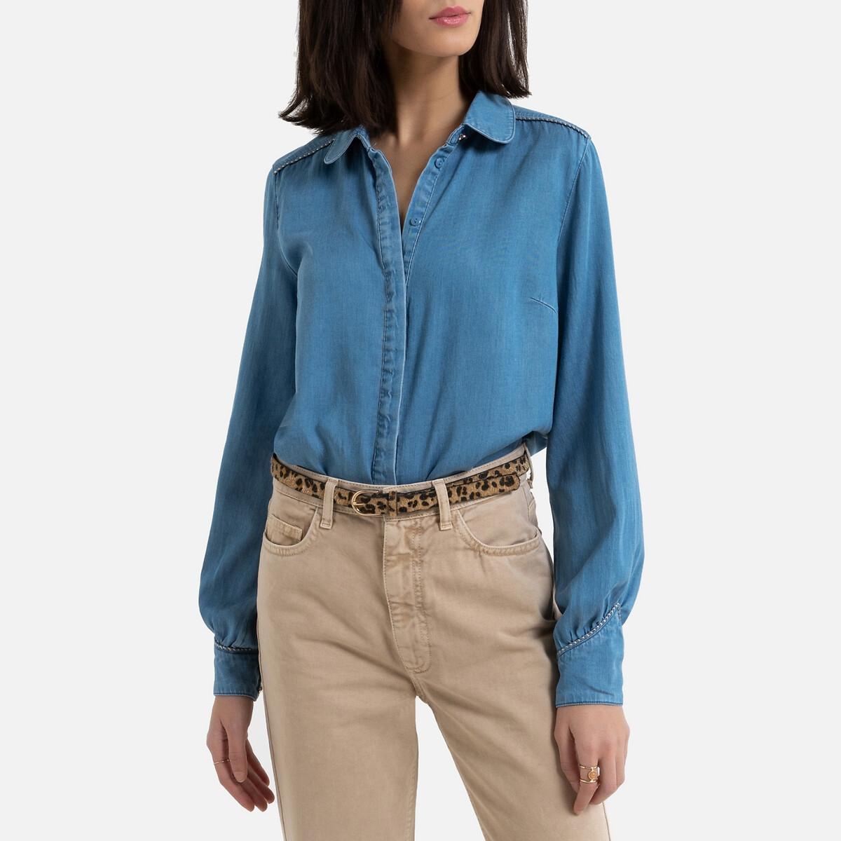 Рубашка La Redoute Джинсовая с отложным воротником 38 (FR) - 44 (RUS) синий