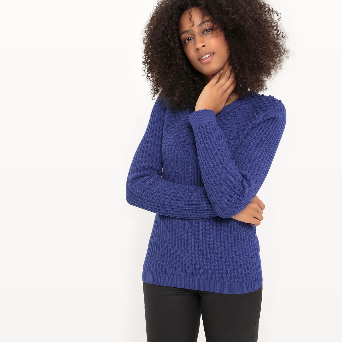 Fantazyjny sweter z okrągłym dekoltem