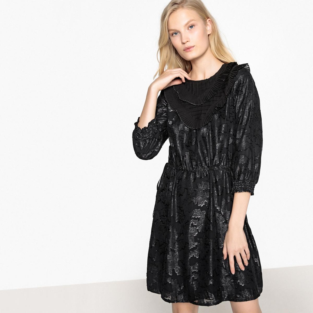 Платье LaRedoute Из рельефной ткани рукавами 34 и воланами 40 черный