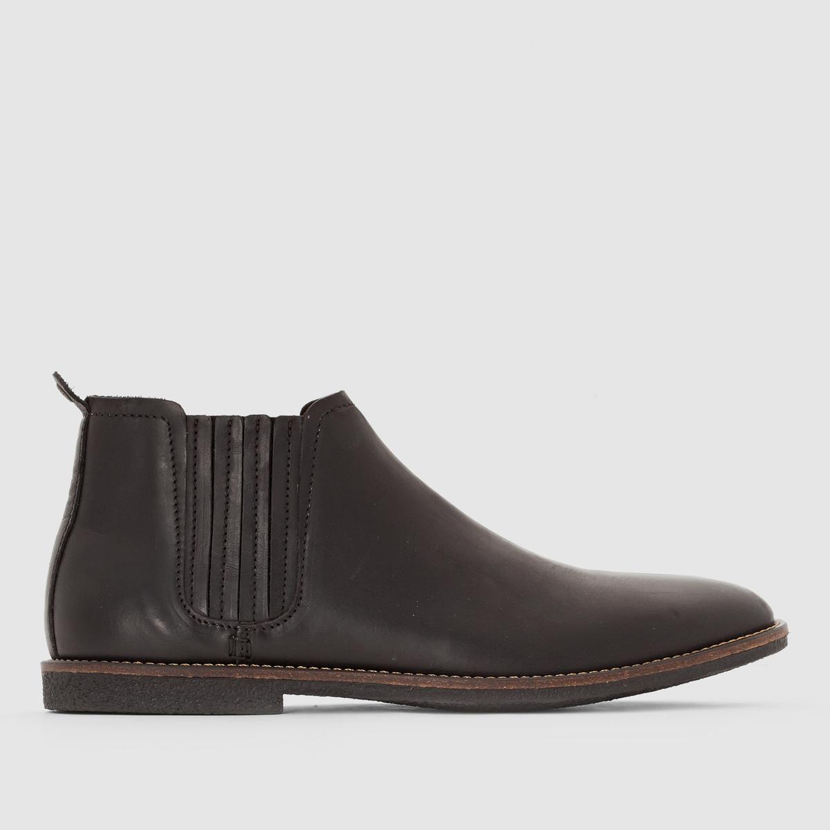 Ботинки Челси BacalusПодкладка : Неотделанная кожа.         Стелька: Неотделанная кожаПодошва: Кожа         Высота каблука: 10 см.         Форма каблука : Плоский каблук         Мысок : ЗакругленныйЗастежка : без застежки<br><br>Цвет: черный<br>Размер: 42.44