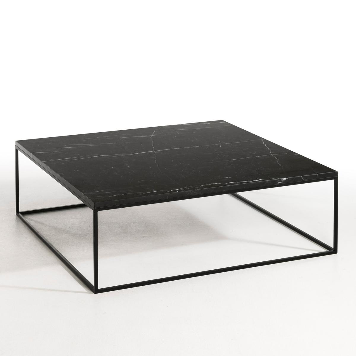 Столик журнальный из металла черного цвета и мрамора, Mahaut