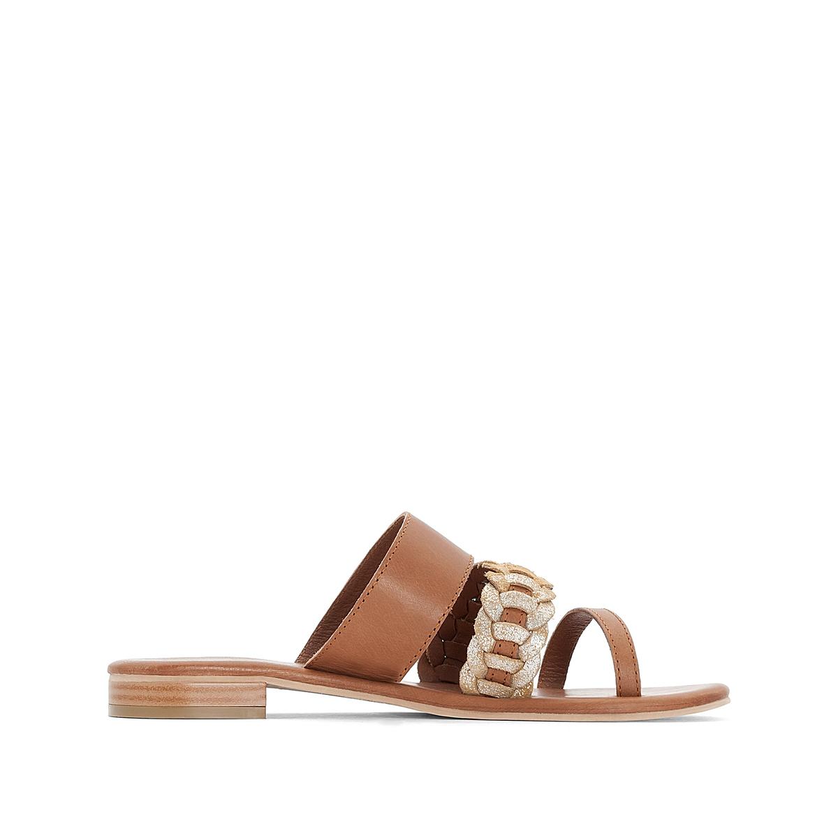 Туфли без задника кожаные с блестящими деталями