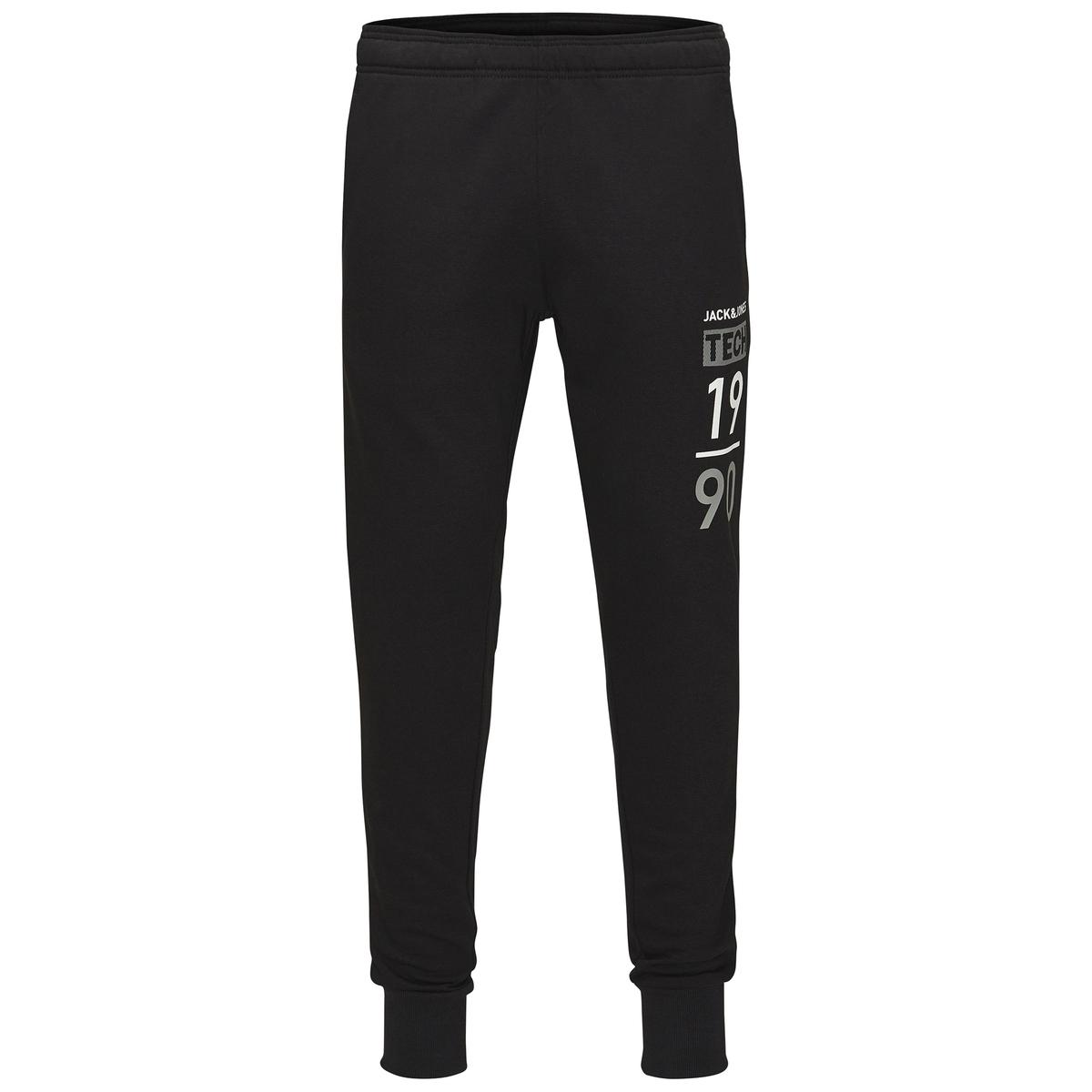 Брюки спортивные из мольтонаСпортивные брюки из мольтона JACK &amp; JONES TECH. Узкий покрой, низ на резинке. Эластичный пояс с завязками. Боковые карманы и принт сбоку. Состав и описаниеМатериал:  60% полиэстера, 40% хлопка.Марка:    JACK &amp; JONES TECH.<br><br>Цвет: серый меланж,черный