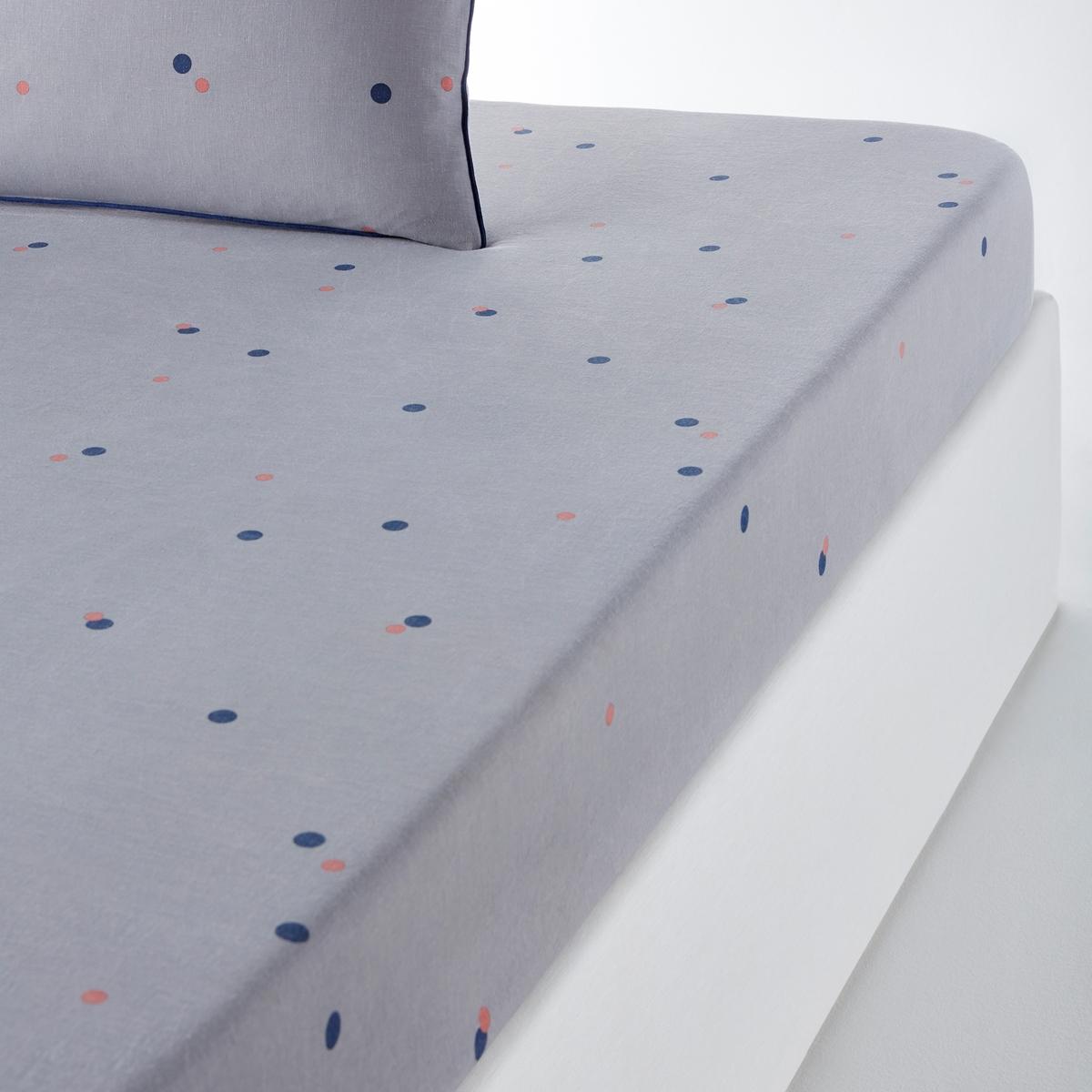 Простыня натяжная с рисунком из льна и хлопка AYANNAНатяжная простыня с рисунком из льна и хлопка Ayanna.Утонченное постельное белье в современном стиле.Аутентичная смесовая ткань соединяет в себе лучшие качества 2 материалов:Лен обеспечивает комфорт и прочность с течением времени. Хлопок - мягкость.Легкая в уходе смесовая ткань с естественным жатым эффектом. Характеристики натяжной простыни с рисунком из льна и хлопка Ayanna   :60 % льна, 40 % хлопка.Рисунок в горошек.- Эластичные уголки.- Стирка при 40° Не требует глажки.    . Весь комплект постельного белья Ayanna Вы найдете на laredoute.ru.На протяжении всего года добавьте индивидуальность вашему интерьеру, сочетая коллекцию Ayanna с нашей коллекцией однотонного постельного белья из хлопка и льна. Знак Oeko-Tex® гарантирует, что товары прошли проверку и были изготовлены без применения вредных для здоровья человека веществ. Размеры :90 x 190 см : 1-сп.140 x 190 см : 2-сп.160 x 200 см : 2-сп.180 x 200 см : 2-сп.<br><br>Цвет: рисунок/серый