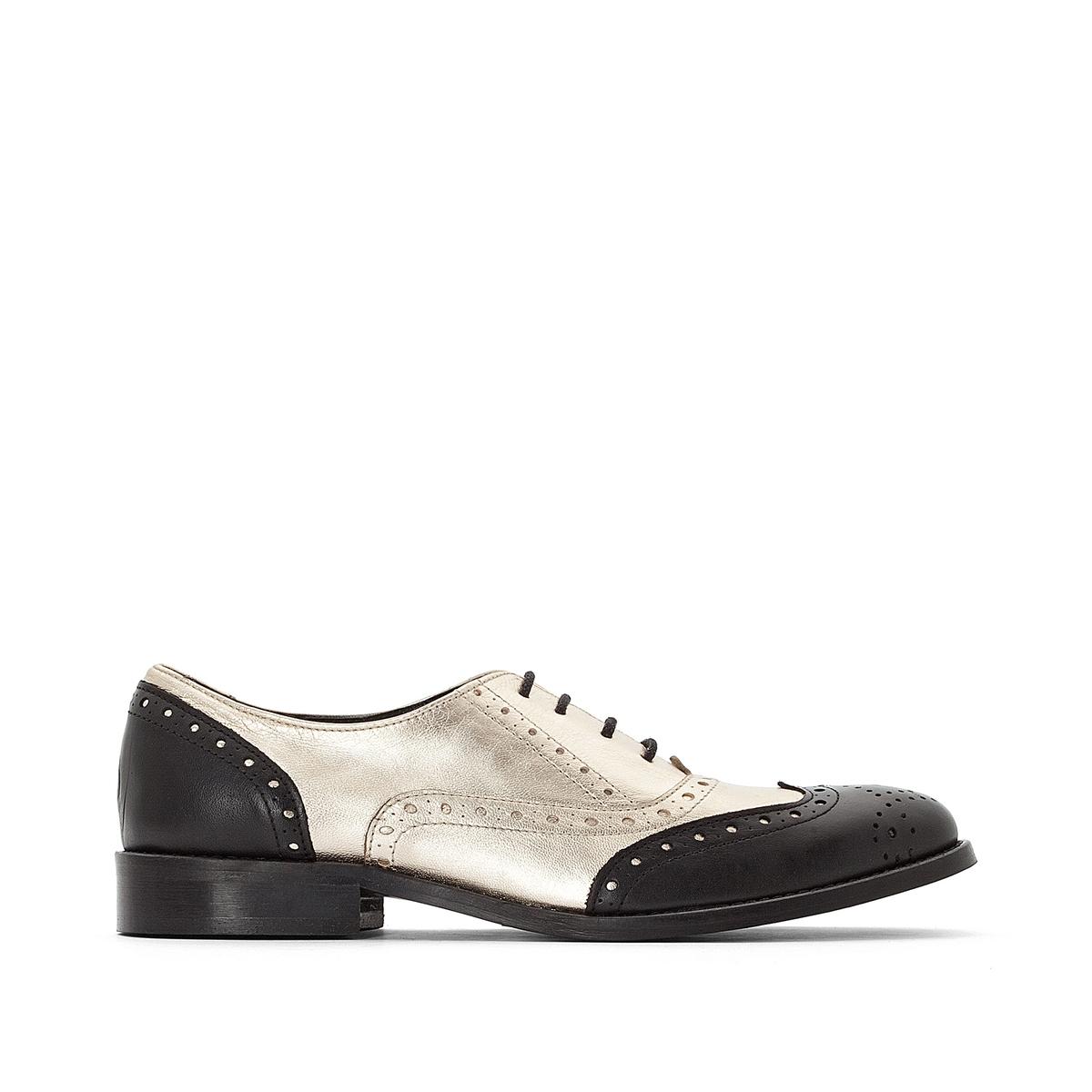 Ботинки дерби кожаные из двух материалов с цветочным узором