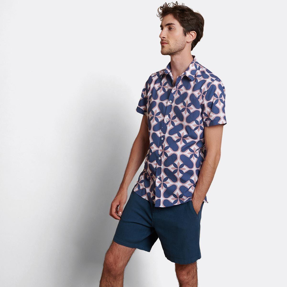 chemise casual manches courtes imprimée