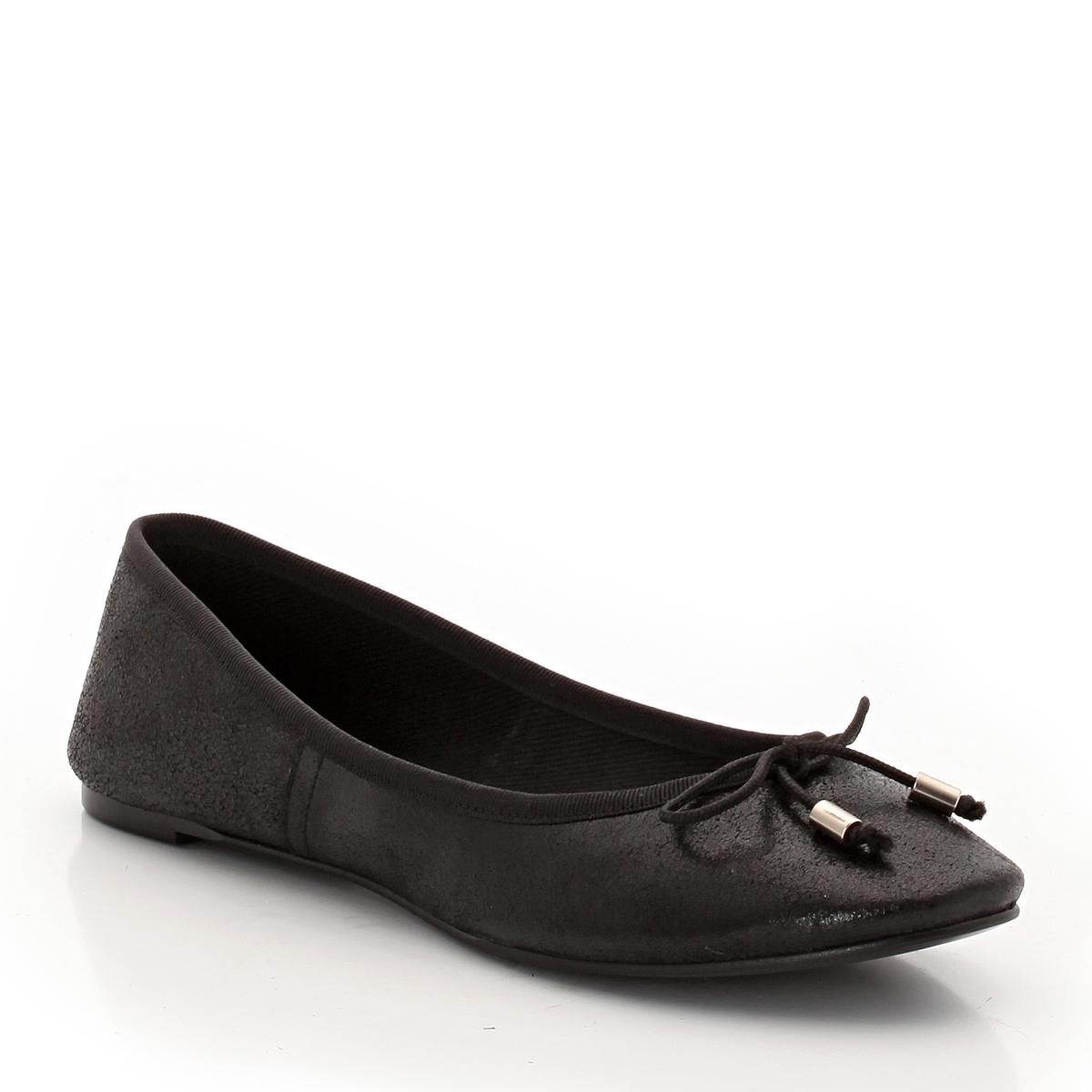 Балетки из кожи DhinВерх : Кожа.   Подкладка : Кожа.   Стелька : Кожа.   Подошва : эластомер   Форма каблука : плоский каблук   Носок : закругленный   Застежка : без застежки<br><br>Цвет: черный