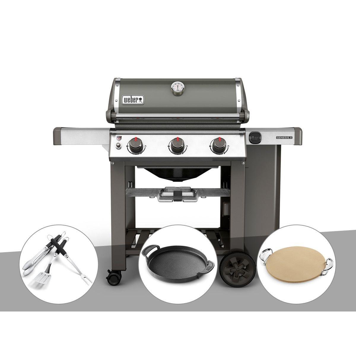 Barbecue gaz Weber Genesis II E-310 GBS Gris + Kit Ustensile + Plancha + Pierre à pizza