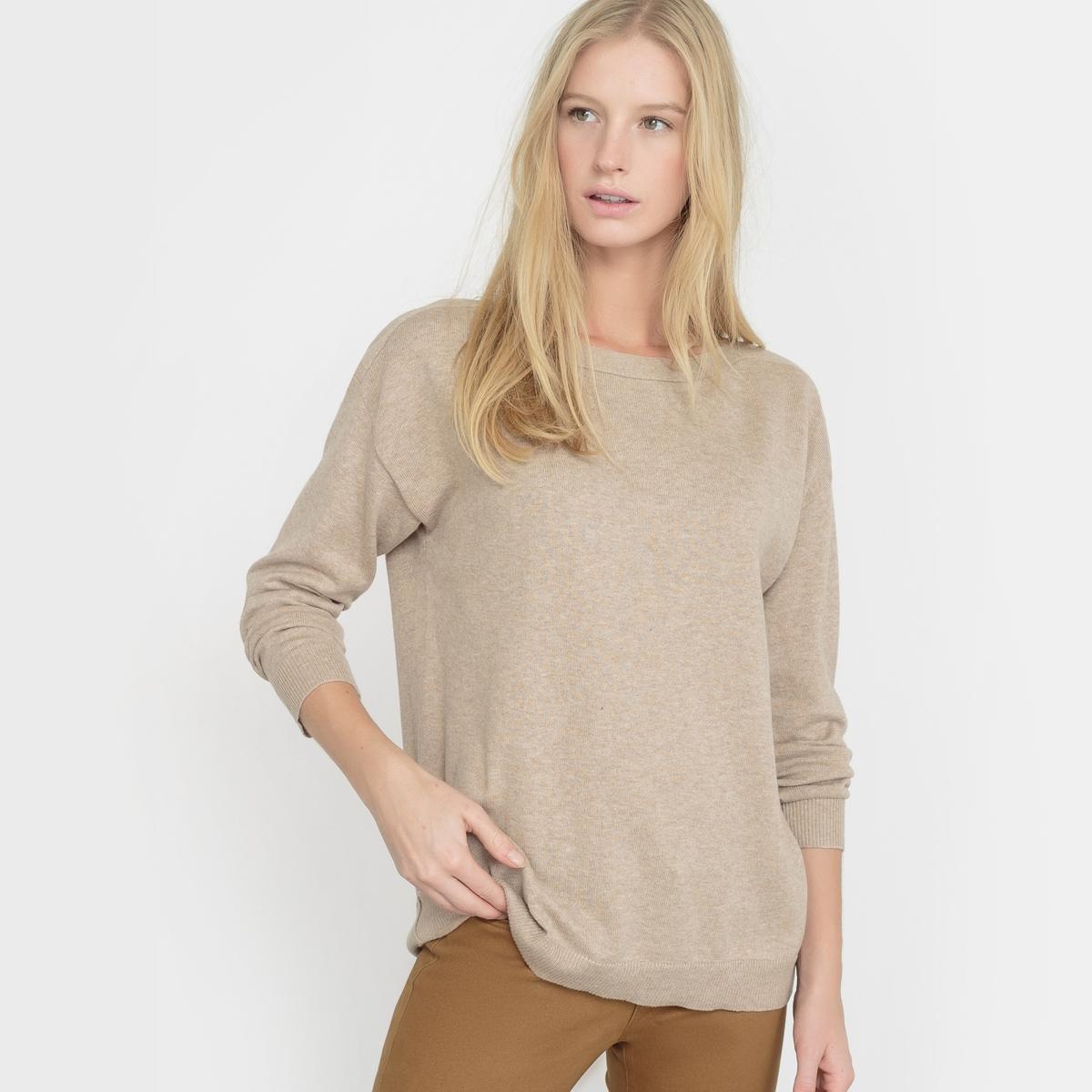 Пуловер свободного покроя с вырезом-лодочкой, хлопок/кашемир