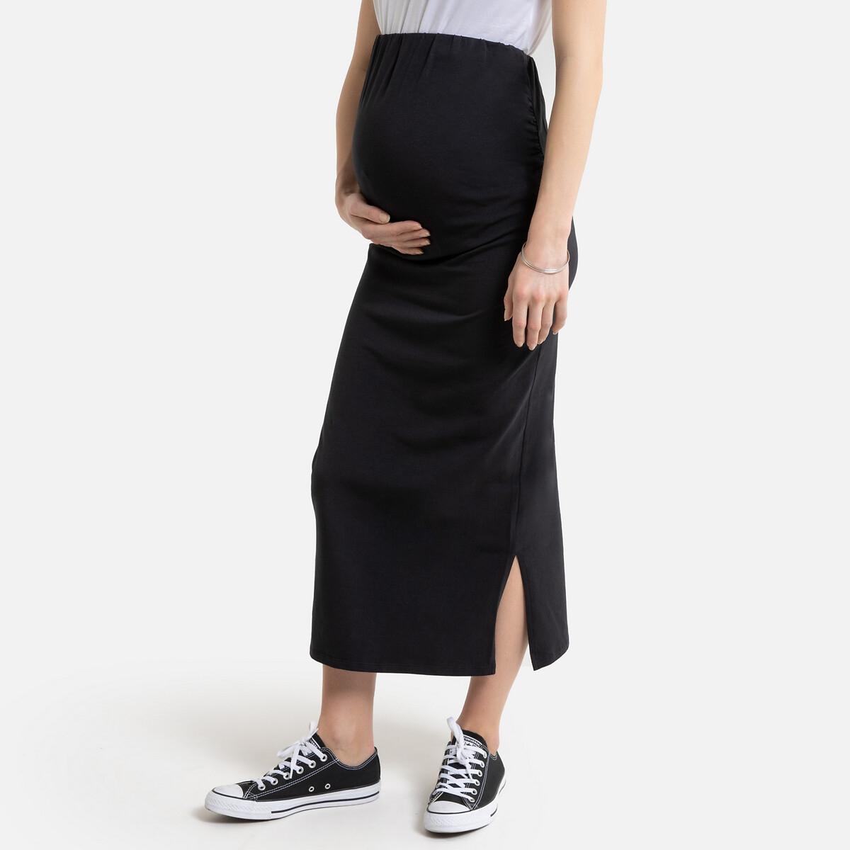 Falda recta para embarazo, semilarga