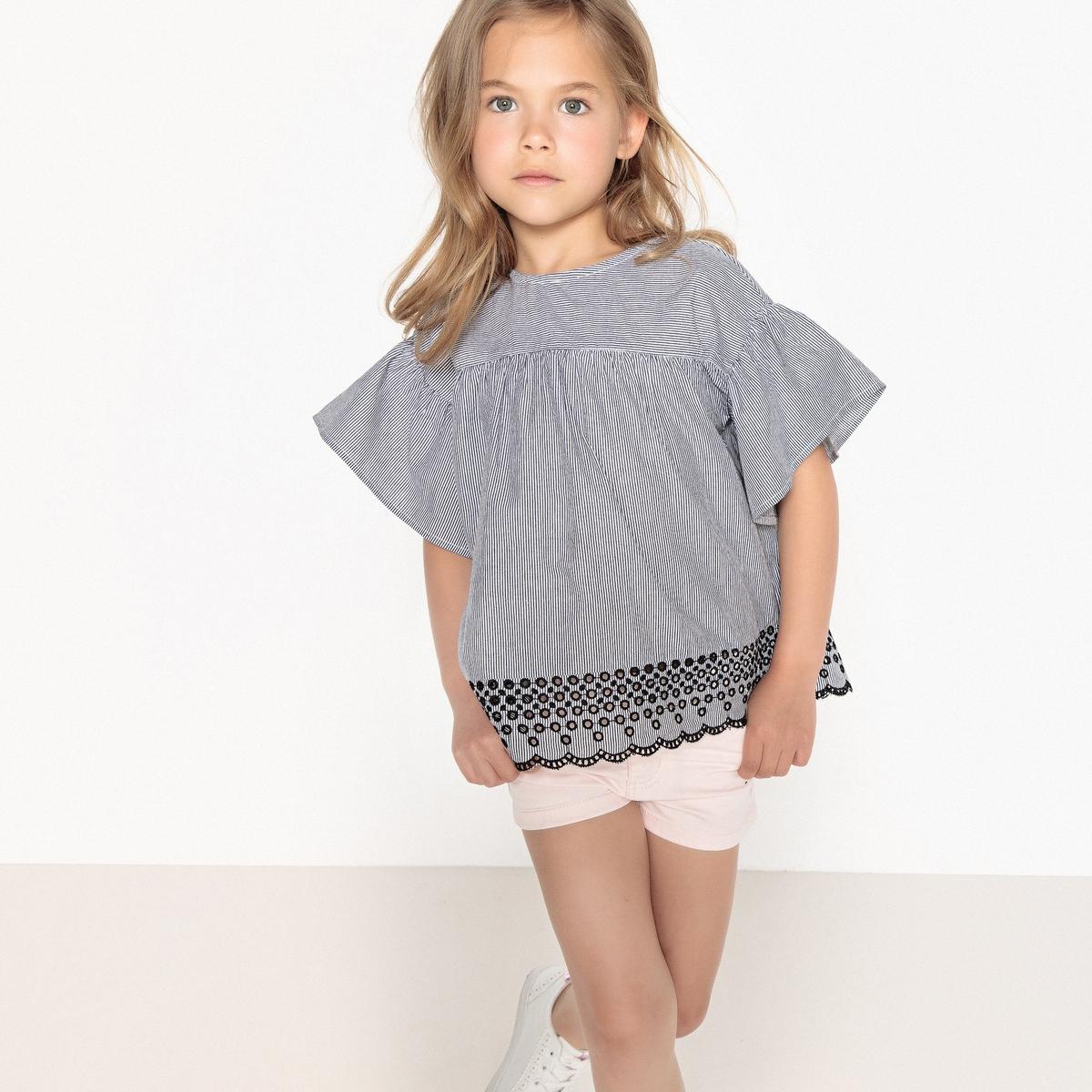 Блузка в полоску с вышивкой, 3-12 лет