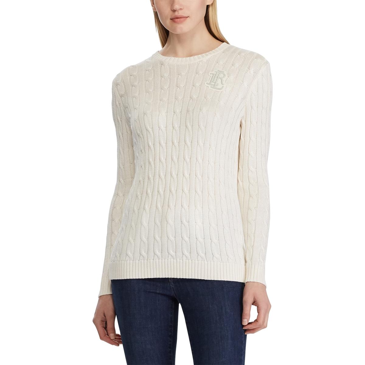 Пуловер La Redoute С круглым вырезом из витого трикотажа L белый