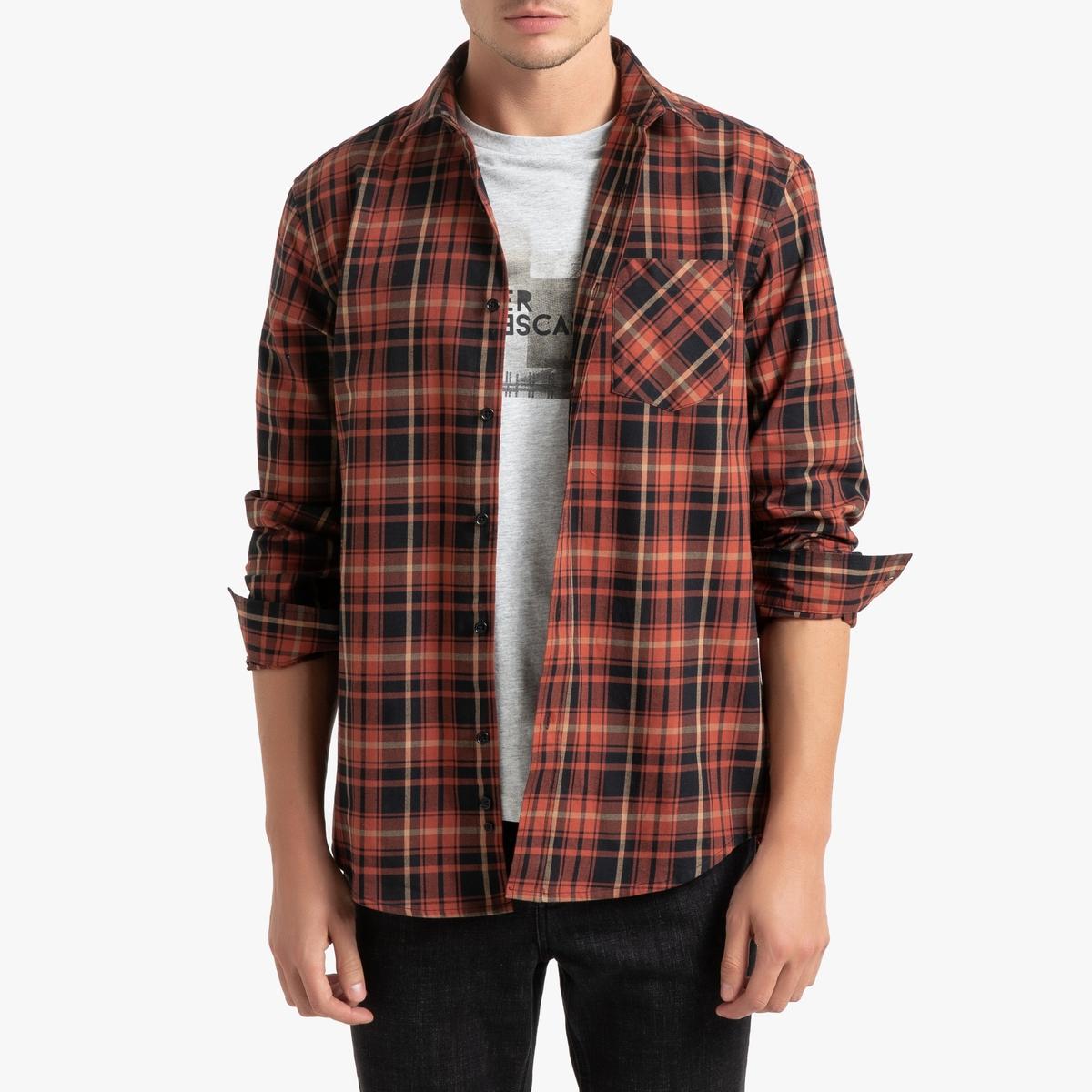Рубашка La Redoute Прямого покроя в клетку с длинными рукавами 39/40 бежевый рубашка la redoute прямого покроя в клетку с длинными рукавами 45 46 серый