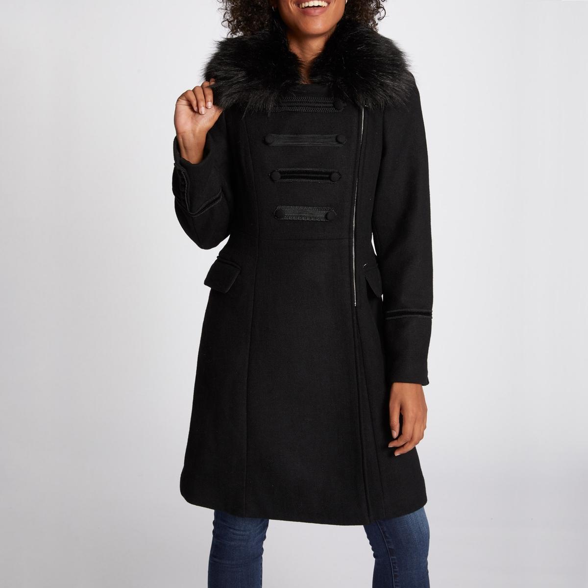 Пальто длинное с застежкой на молнию, демисезон