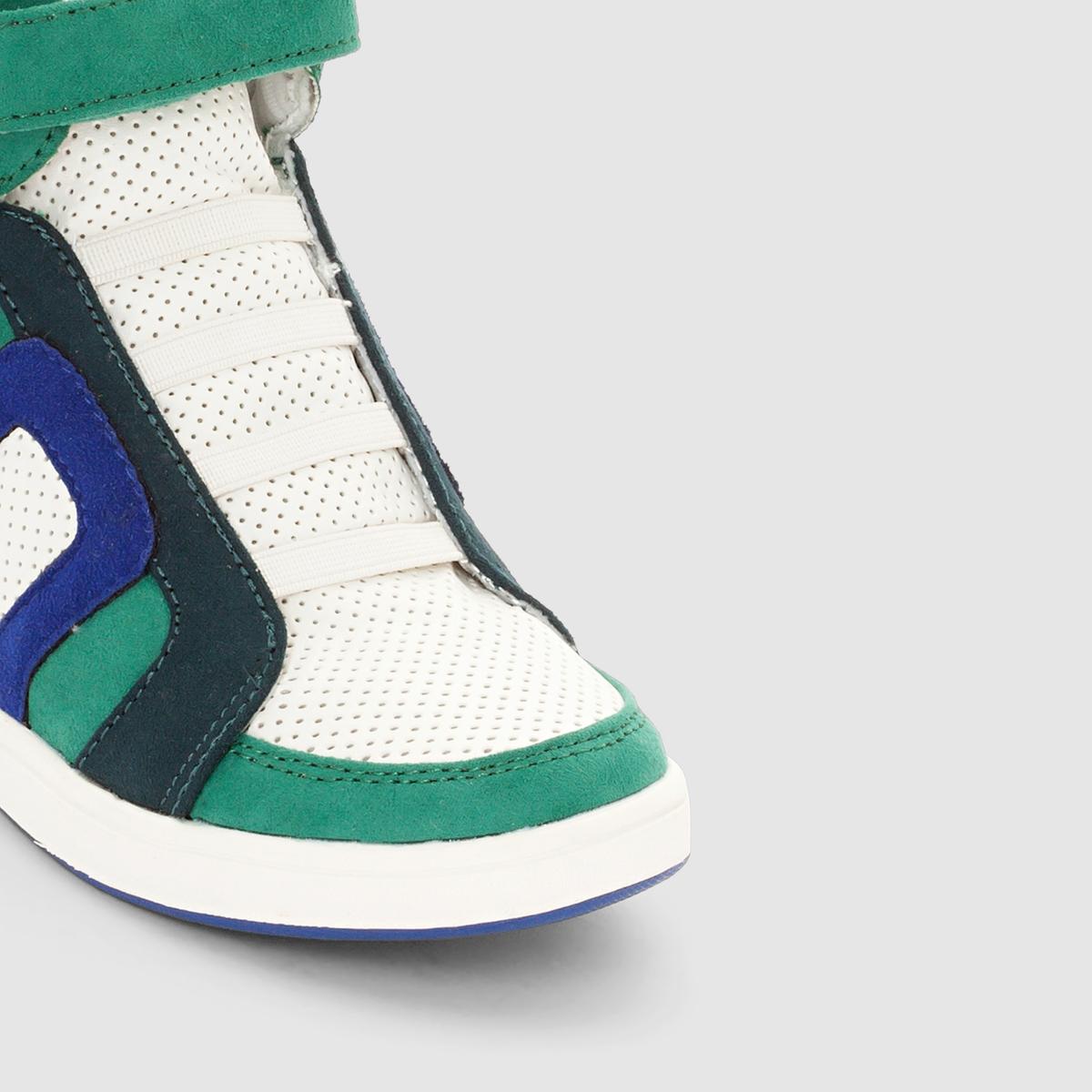 Кеды высокие на эластичной шнуровкеВерх : синтетика           Подкладка : текстиль           Стелька : текстиль           Подошва : эластомер           Застежка : эластичная шнуровка<br><br>Цвет: белый + синий + зеленый<br>Размер: 40.39.37.36.33