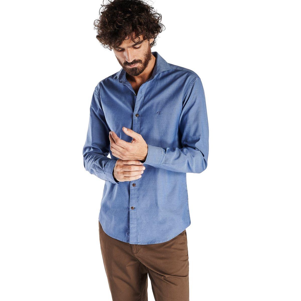 Chemise à coupe étroite et sportive en coton à col ouvert