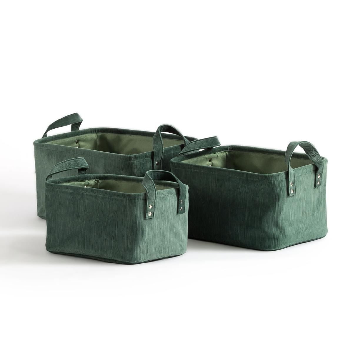 Комплект из корзин La Redoute Велюра Butto единый размер зеленый