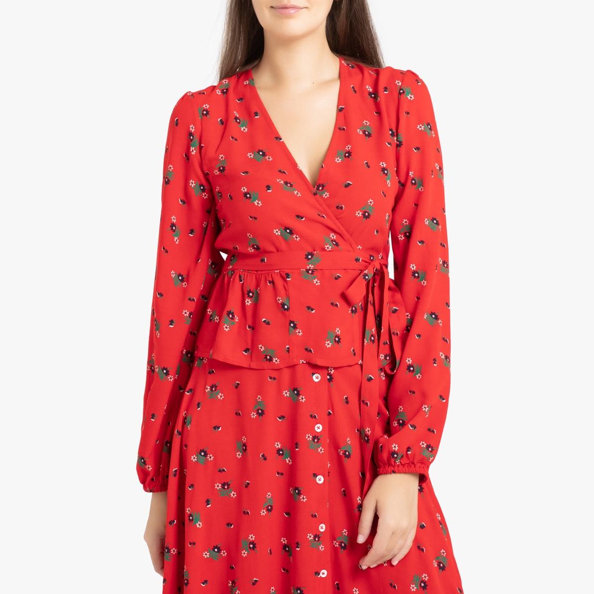 Блузка LaRedoute С запахом с длинными рукавами CALIOPE XS красный
