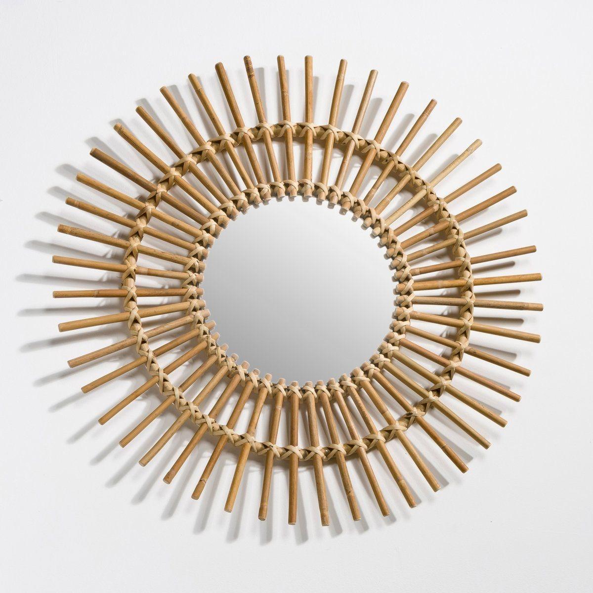 Miroir rotin forme soleil vintage, Nogu