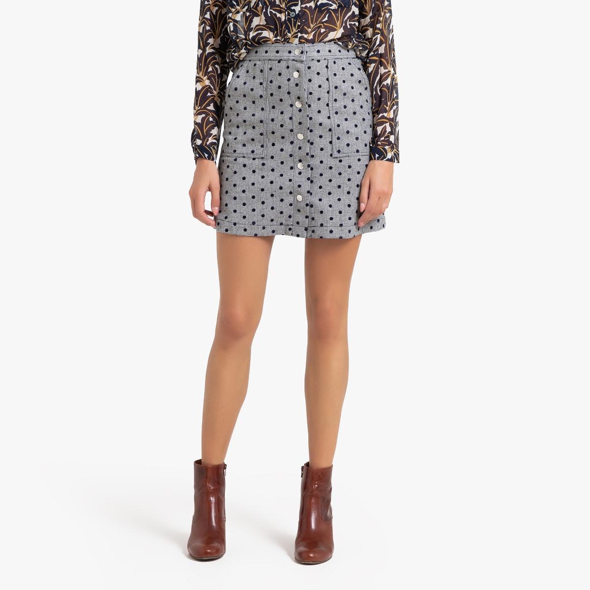 Юбка La Redoute Прямая короткая ELIANNE S серый юбка жаккардовая короткая