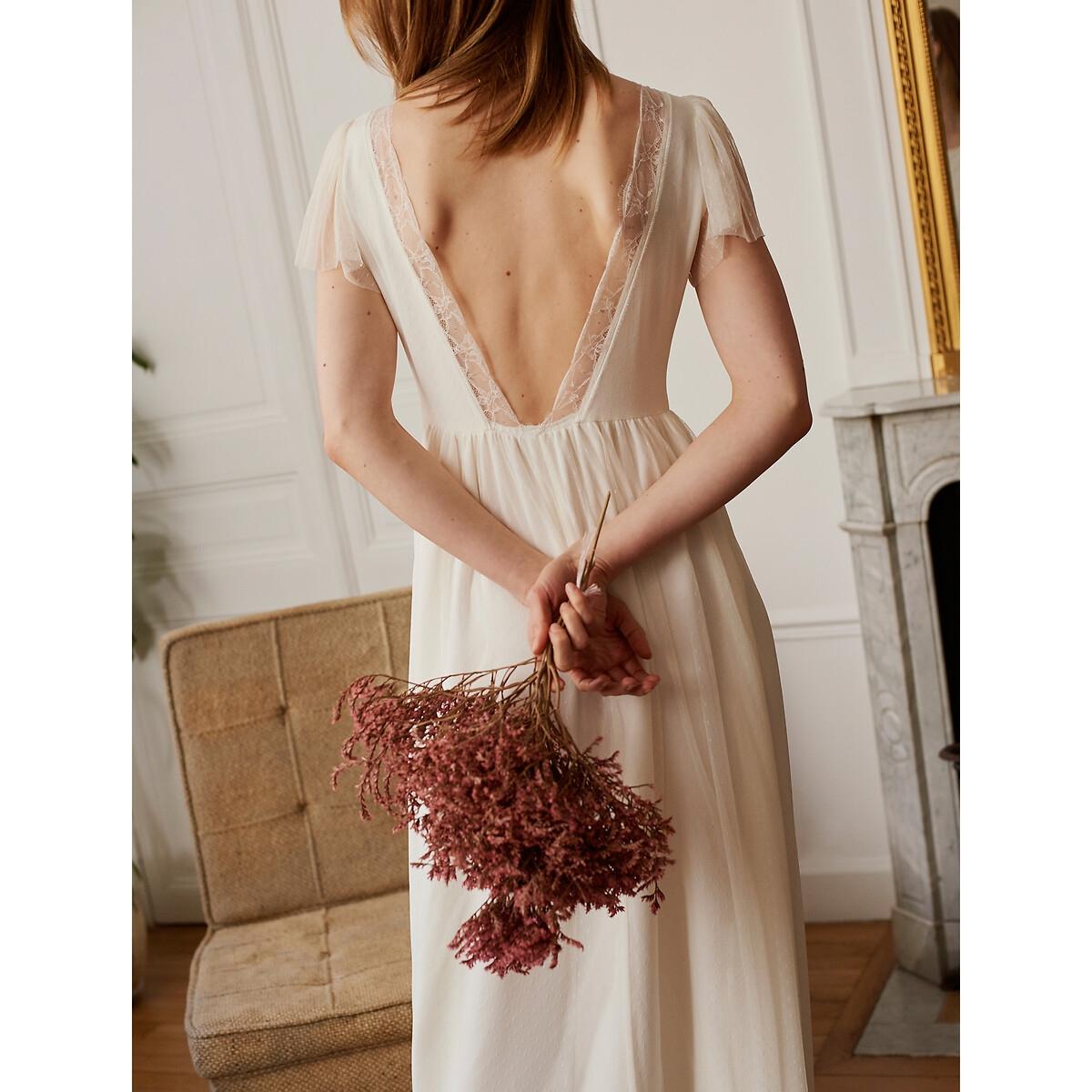 Robe de mariée longue, manches courtes