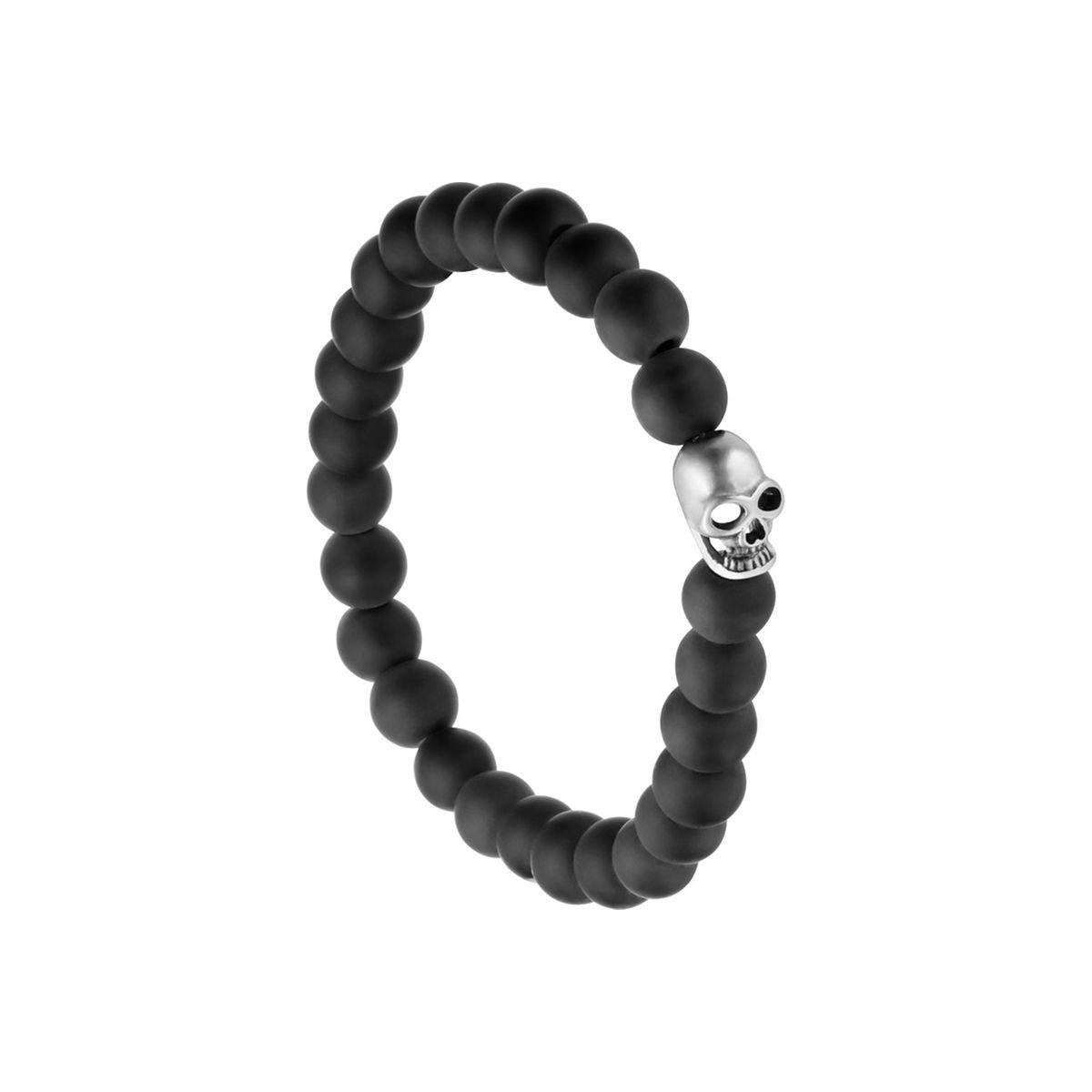 Bracelet perles noires et tête de mort Lui de Clio en acier