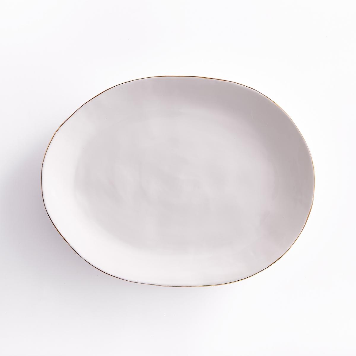 Блюдо из фаянса, CatalpaРазмеры : Ш.34,5 x В.3,2 x Г.26,5 см. - Подходит для использования в посудомоечной машине.<br><br>Цвет: золотисто-белый<br>Размер: единый размер