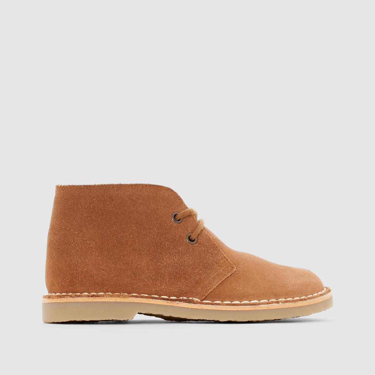 Ботинки кожаные на шнуровкеБотинки из спилка на шнуровке.Верх: спилок (яловичная кожа). Подкладка: текстиль. Стелька: кожа. Подошва: из эластомера. Застежка: на шнуровке.<br><br>Цвет: темно-бежевый<br>Размер: 35