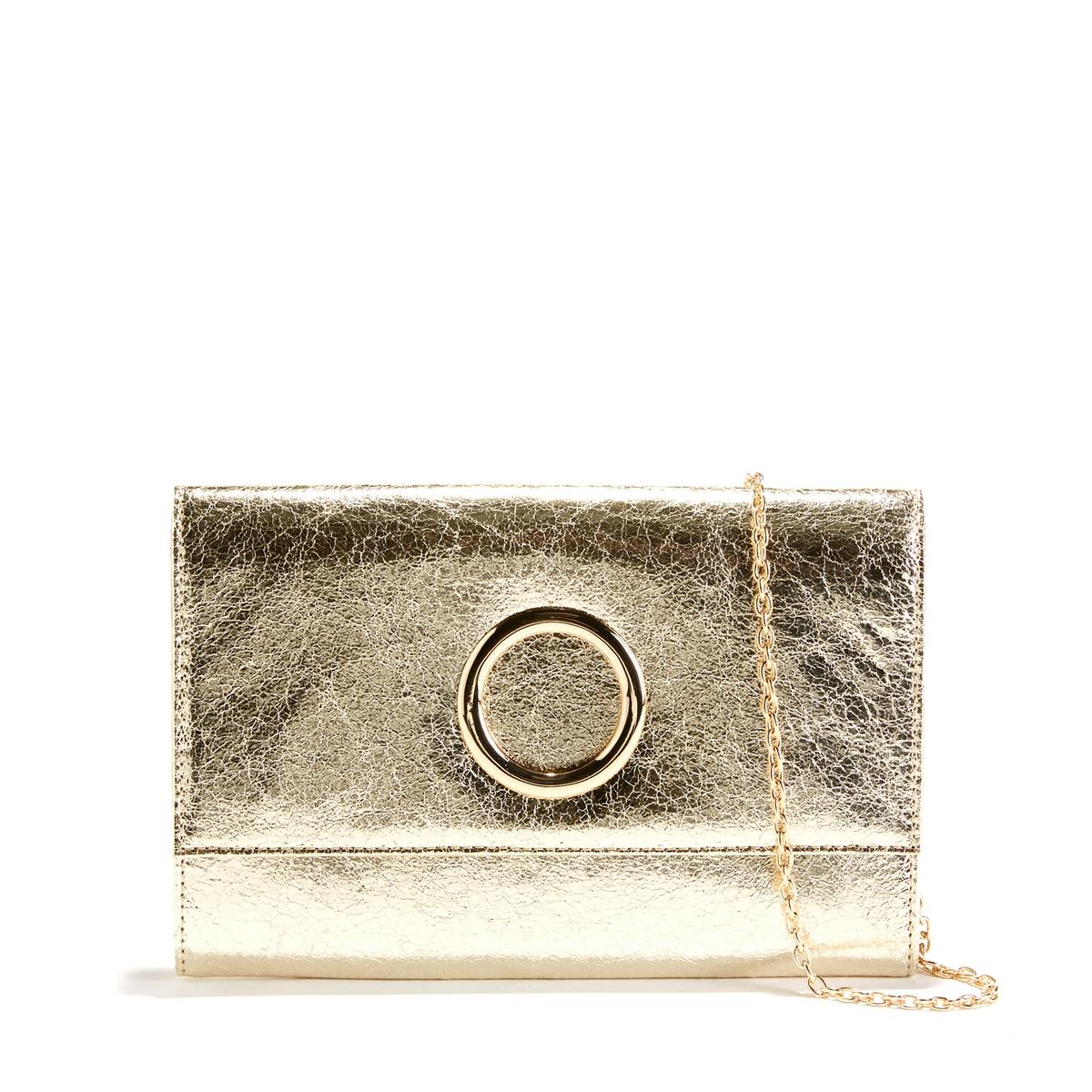 Клатч в винтажном стилеОписание:Благодаря своей винтажной форме и изящным кольцу и цепочке эта сумка поможет выделиться уже следующим вечером !Состав и описание :Материал верха : полиуретанПодкладка : полиэстерРазмер  : Ш.26,5x В.20 смЗастёжка :  на магнитную кнопку2 кармана + 1 карман на молнииПлечевой ремень : съемная нерегулируемая цепочкаНосить : через плечо или в руках<br><br>Цвет: золотистый,черный<br>Размер: единый размер