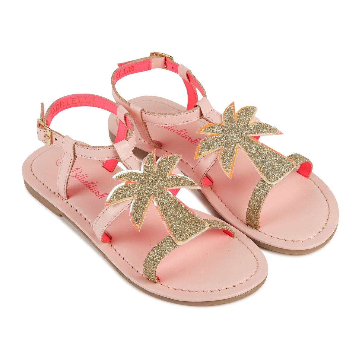 Sandale en cuir suédé et patch