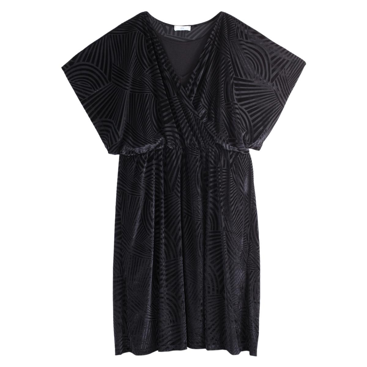 Платье La Redoute Прямое с запахом из велюра с эффектом деворе 52 (FR) - 58 (RUS) черный платье la redoute прямое из велюра деворе с длинными рукавами 42 fr 48 rus черный