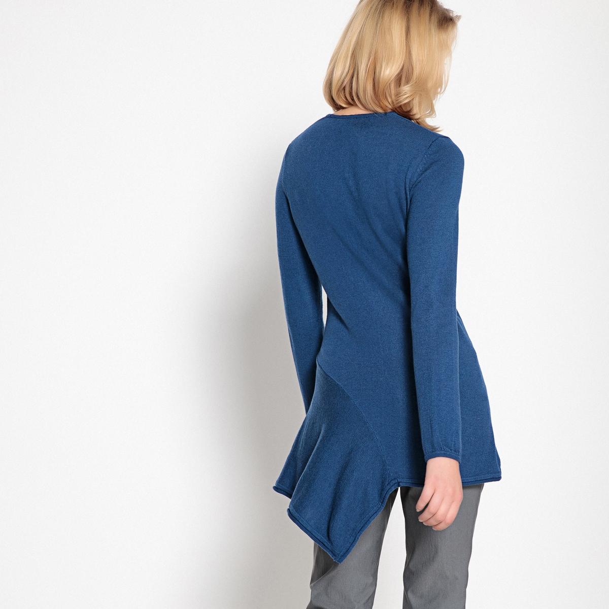 Imagen secundaria de producto de Jersey túnica en asimetría, cno cuello redondo y punto fino - Anne weyburn