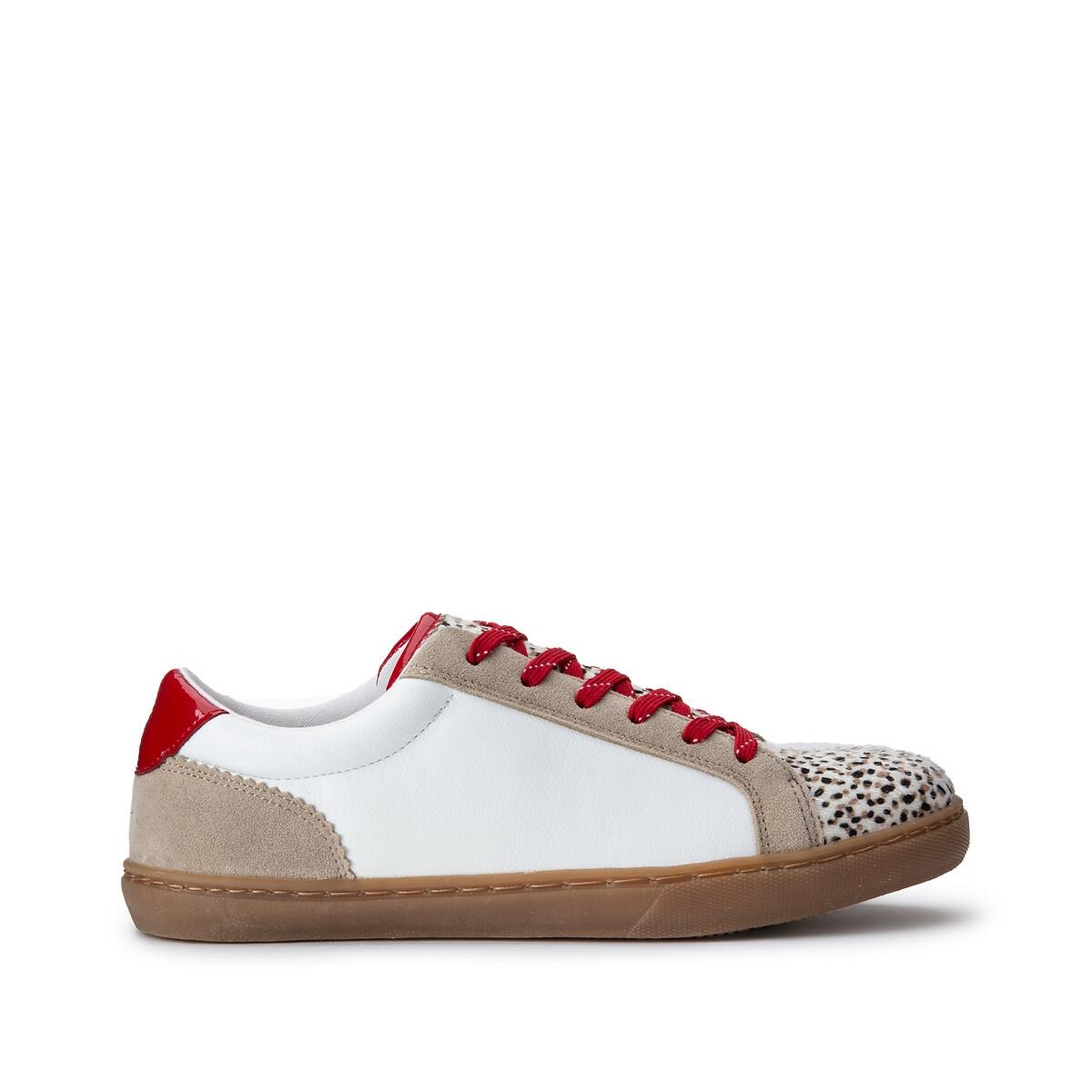 Кеды LaRedoute На шнуровке с контрастной расцветкой 39 белый кеды laredoute высокие тканевые на шнуровке 39 белый
