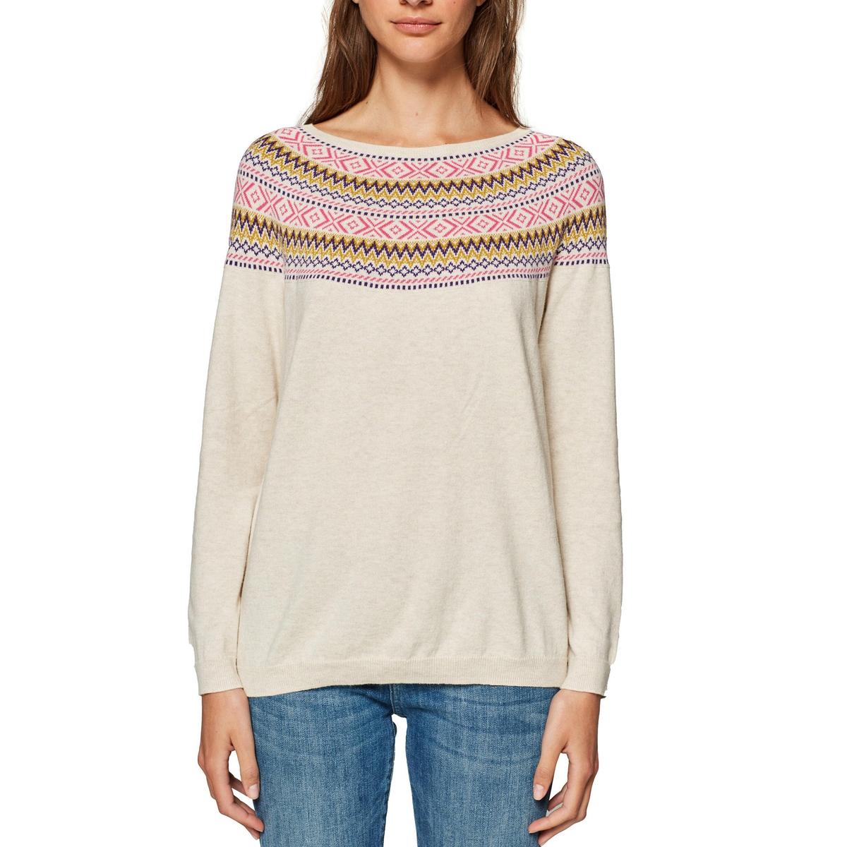 Jersey con cuello redondo y motivo jacquard, 100% algodón