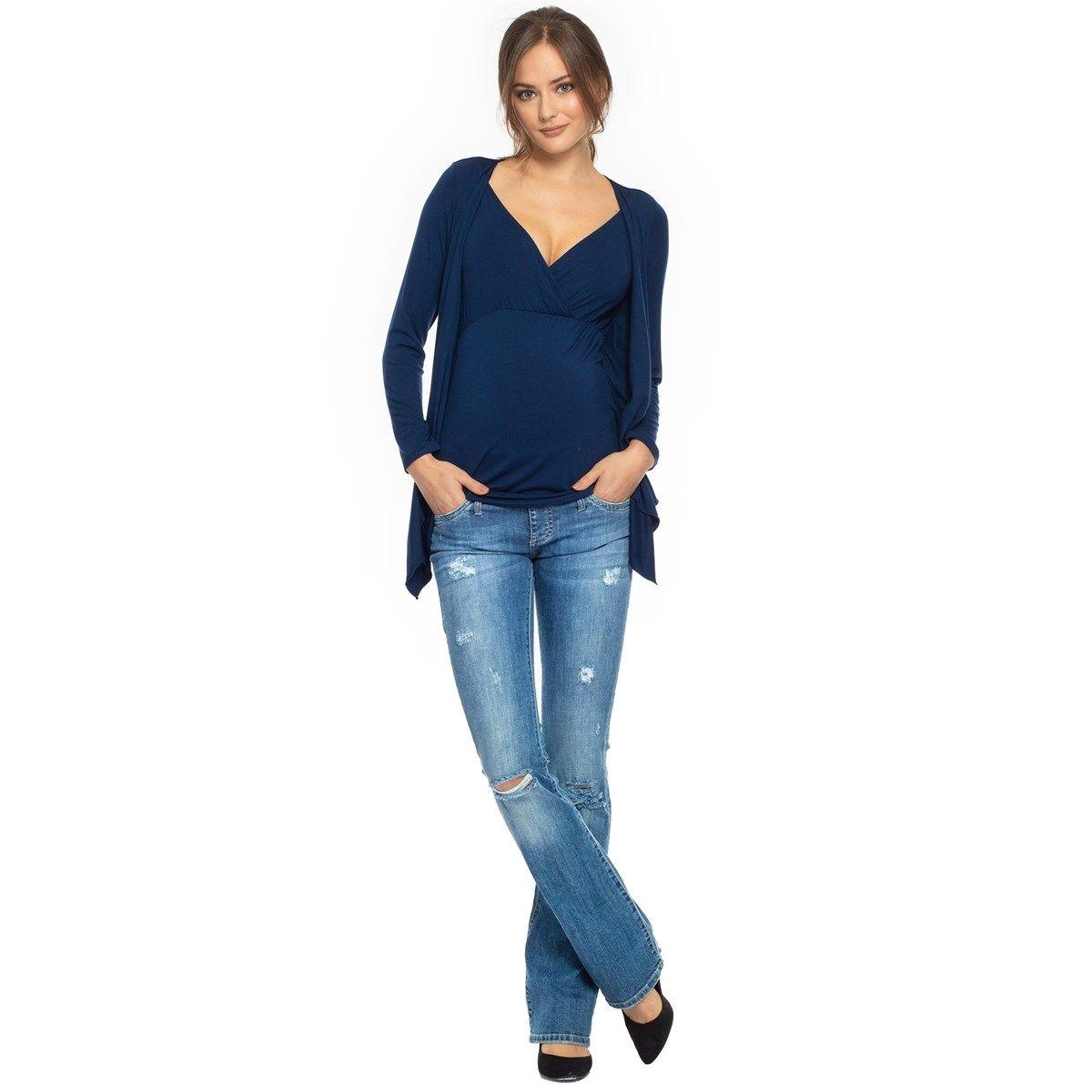 Jeans bootcut slim de maternité avec petites déchirures